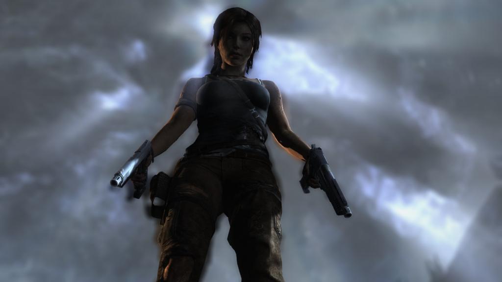 Lara Croft with two guns